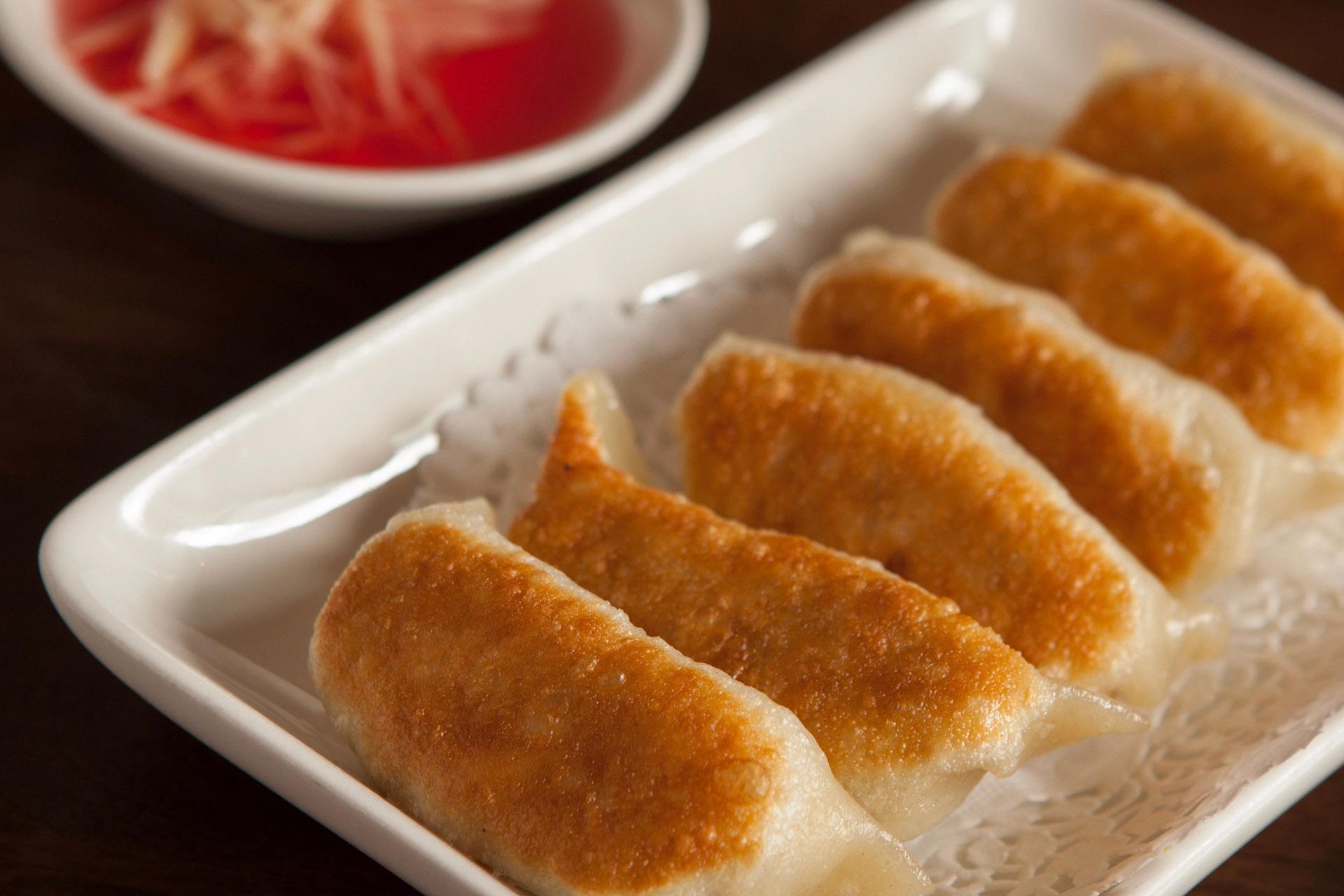 Pan Fried Shrimp, Pork & Garlic Chives Dumplings [6] at Lee Chen Asian Bistro