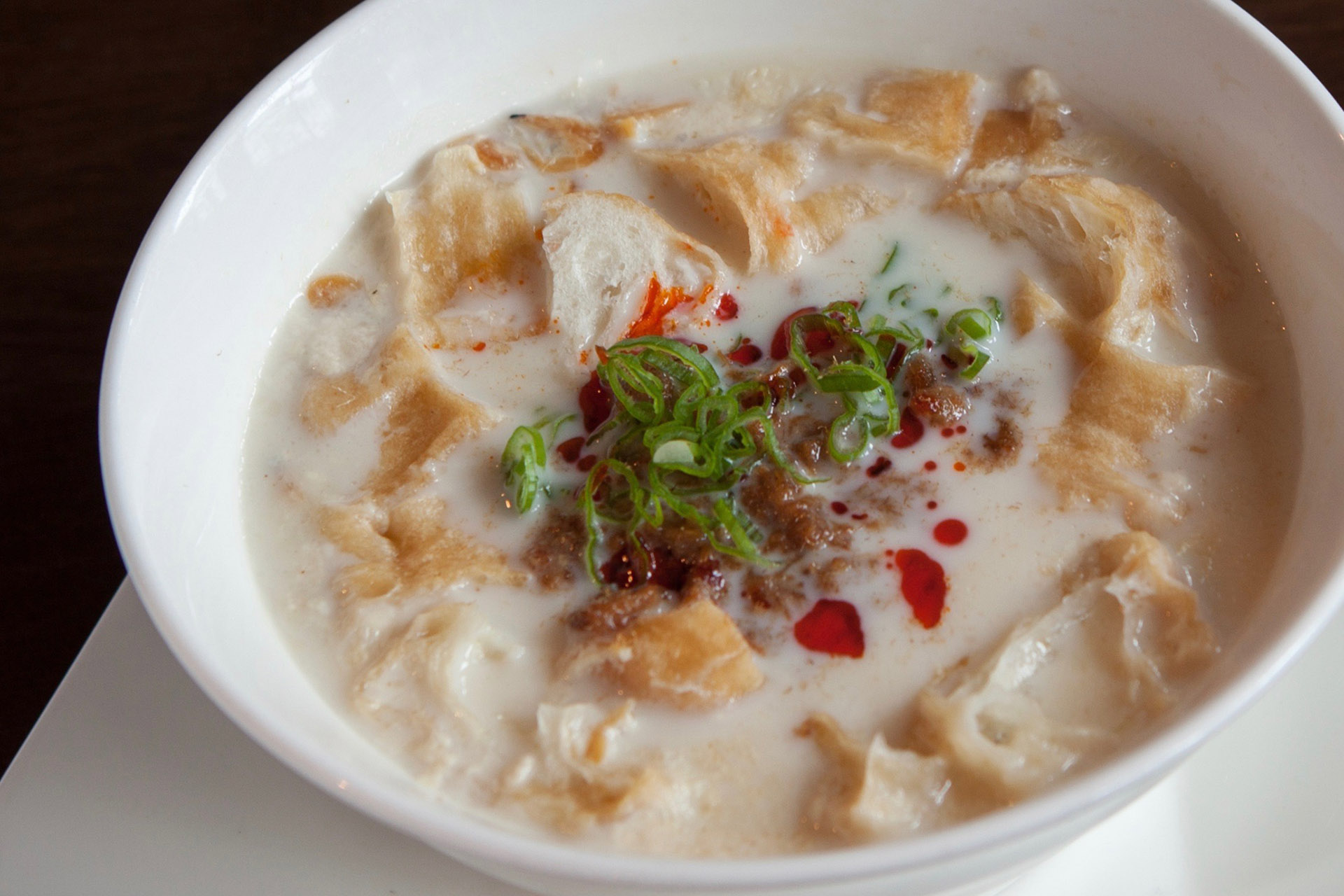 Savory Soy Bean Drink (pork) -HOT- at Lee Chen Asian Bistro