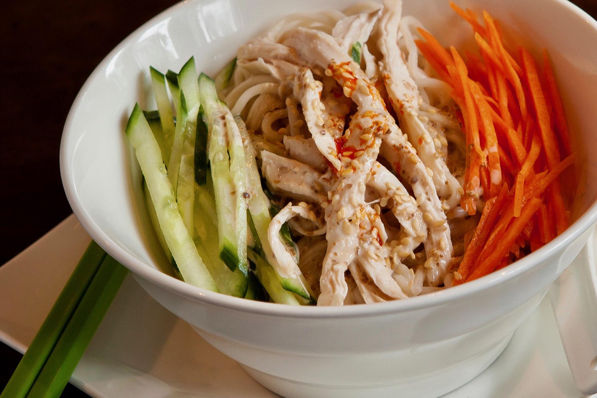 Cold Sesame-Peanut Noodles (chicken) at Lee Chen Asian Bistro